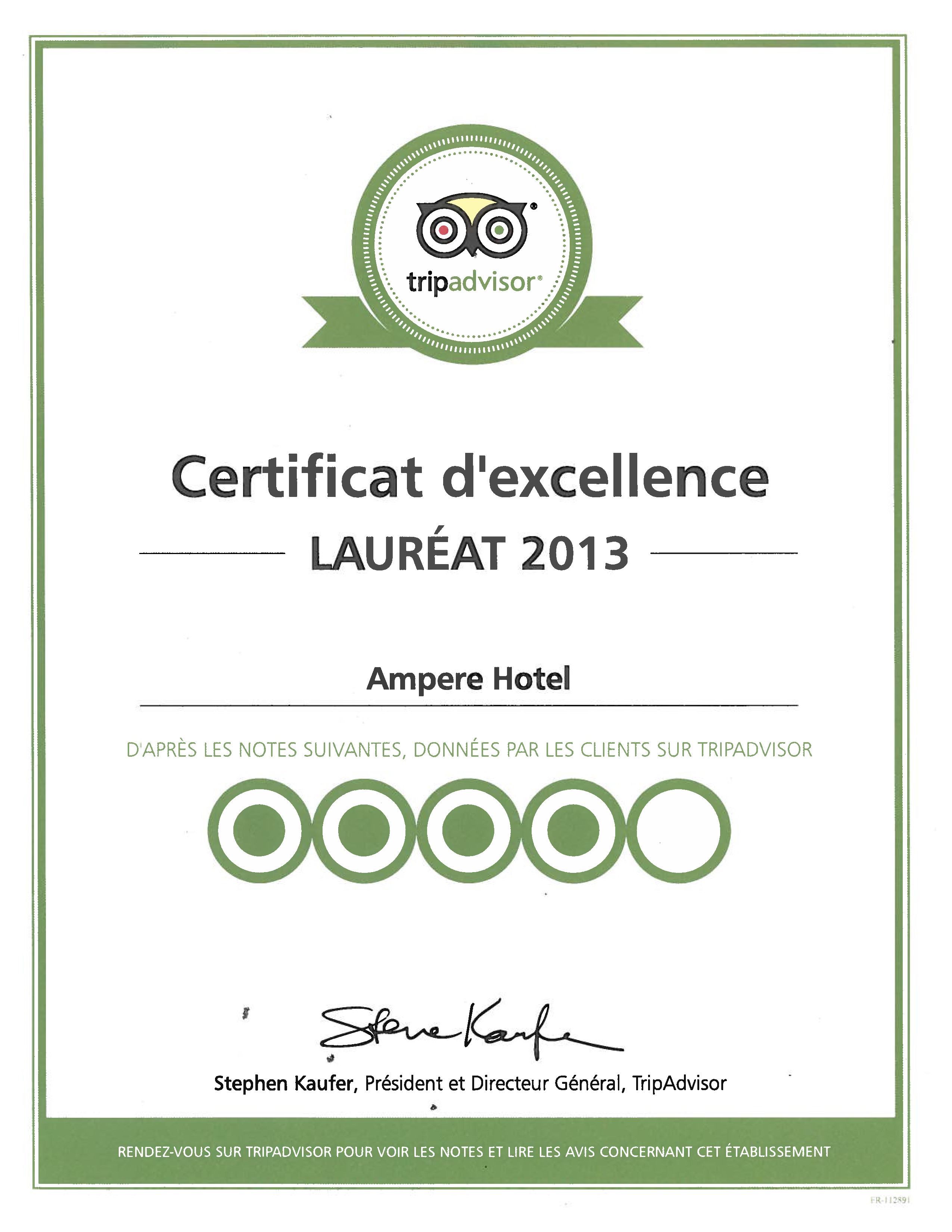 Certificat d'excellence 2013