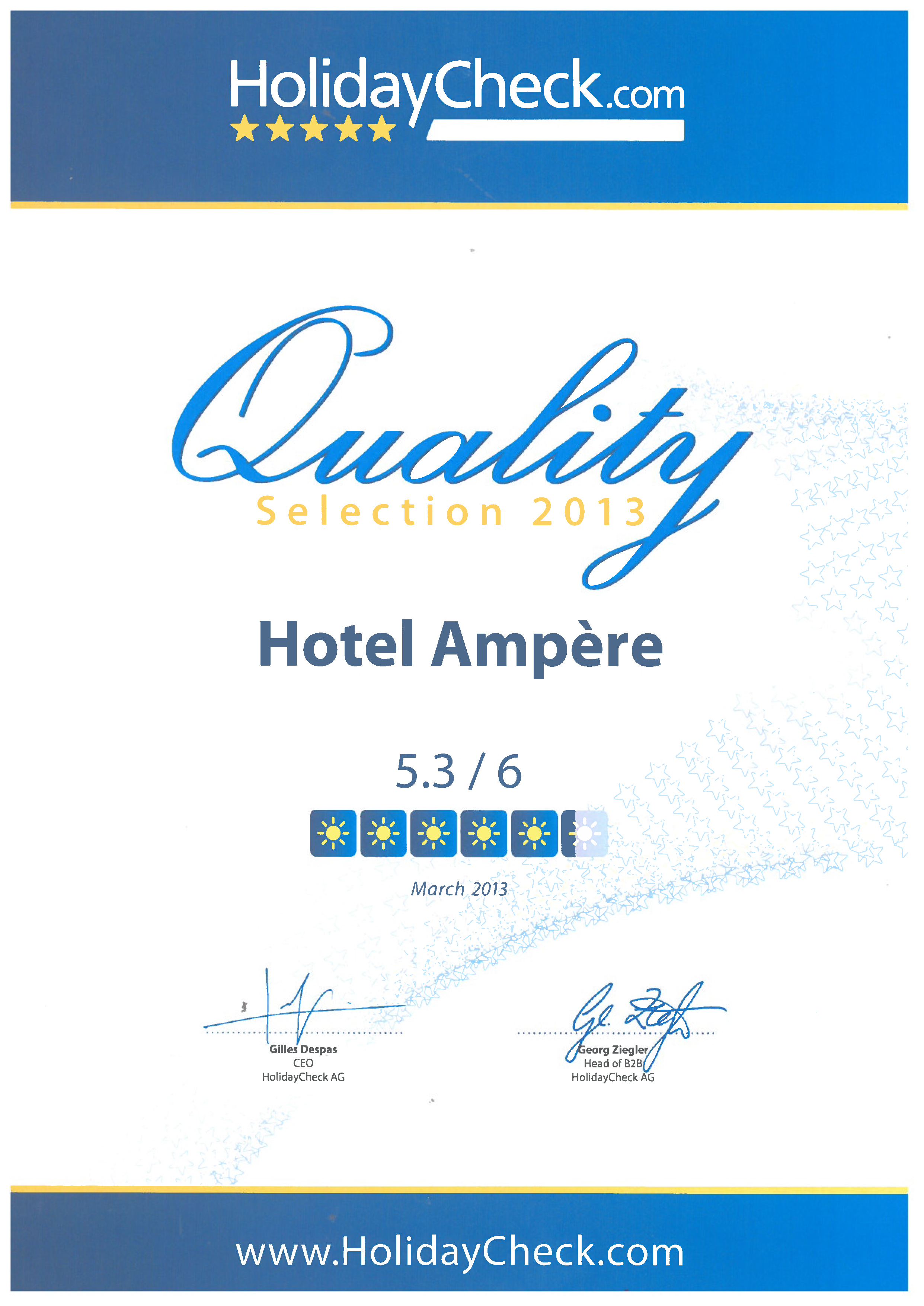 HolidayCheck certificat 2013